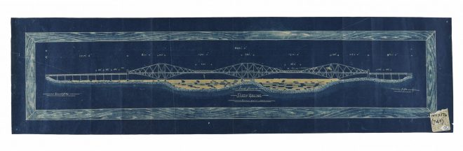 T.1971.X.176.7 Blueprint for the Forth Railway Bridge, one of set of twelve drawings, 1880s.