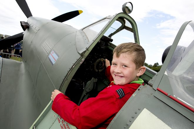 Trying out the Spitfire cockpit at Scotland's National Airshow © Ruth Armstrong Photography