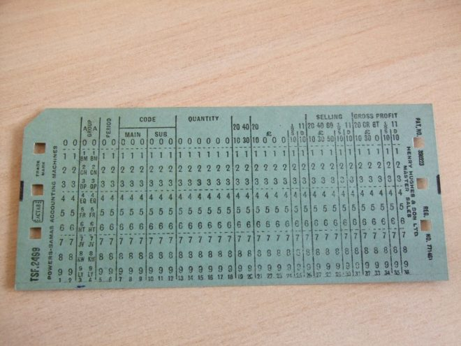 A punch card