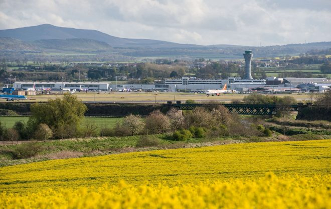 View of Edinburgh Airport looking across the runway.