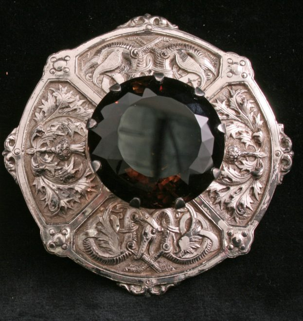 Cairngorm in a silver brooch