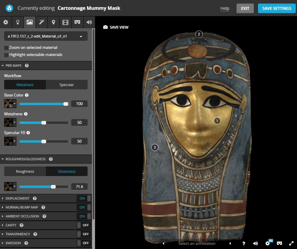 Model adjustment options in Sketchfab