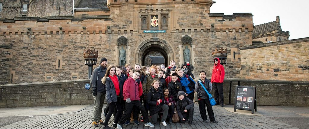 Pupils visiting the National War Museum at Edinburgh Castle