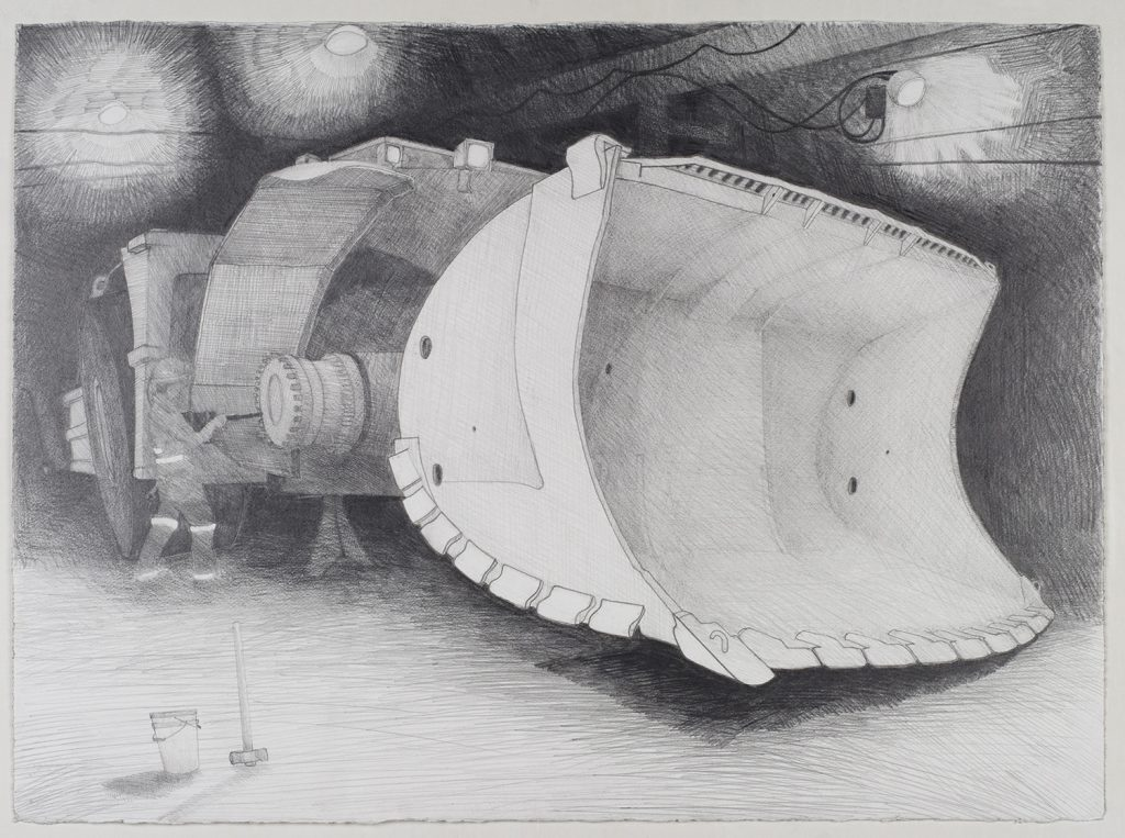 Bucket bogger, Mt Lyell mine, 2008, graphite, 51 cm x 55 cm