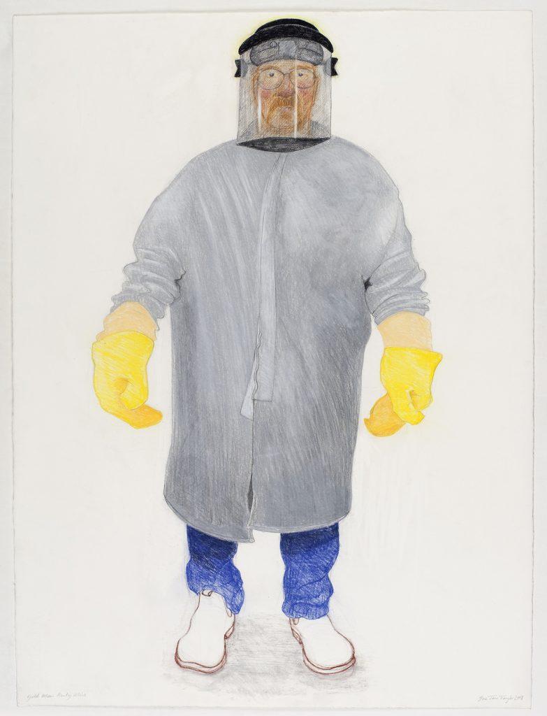 Gold man, Mt Henty mine, 2008, colour conte, 57 cm x 79.5 cm