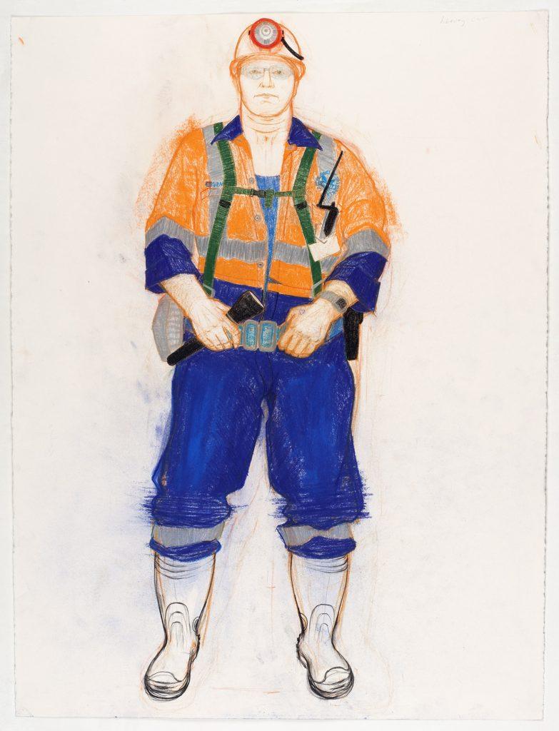 Harvey, Mt Lyell mine, 2008, colour conte, 56 cm 76.5 cm