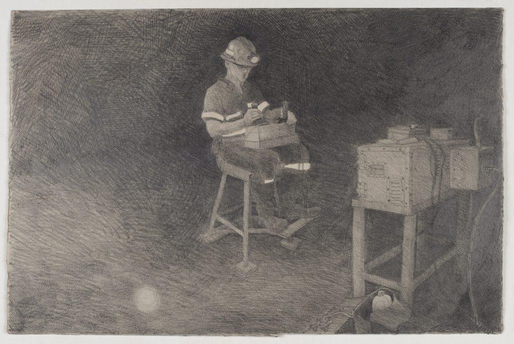 Remote bogger driver, 2008, graphite, 38 cm x 58 cm