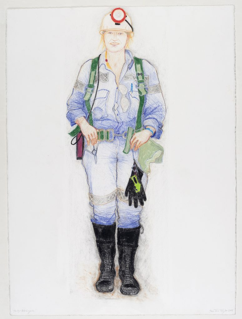Sally, Mt Lyell mine, 2008, colour conte, 56 cm x 76.5 cm