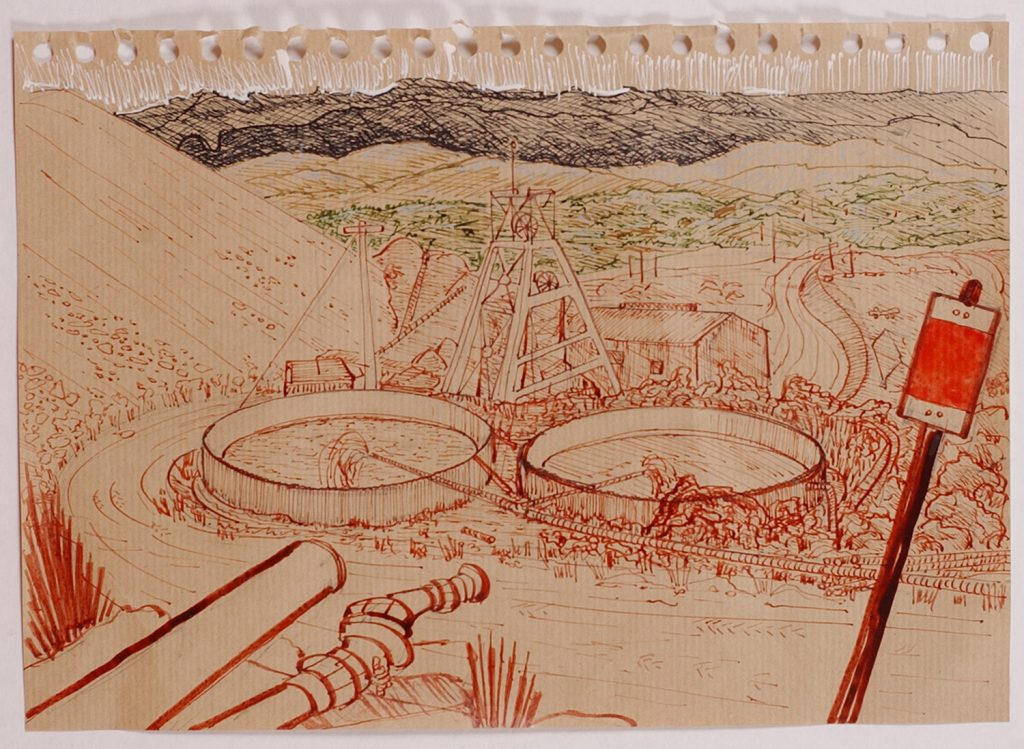 Surface sketch 5, Mt Lyell mine,2008, pen and ink wash,15 cm x 10 cm