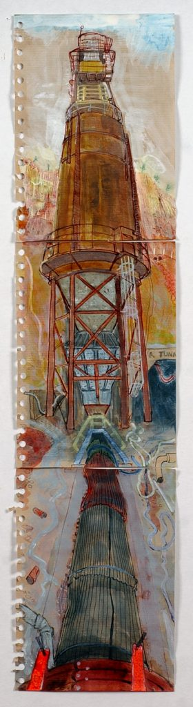 Surge bin, Mt Lyell mine, 2008, pen and ink wash, 64 cm x 15 cm