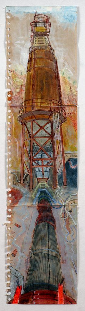 Surge bin, Mt Lyell mine, 2008, pen and ink wash, 64 cm x 15 cm
