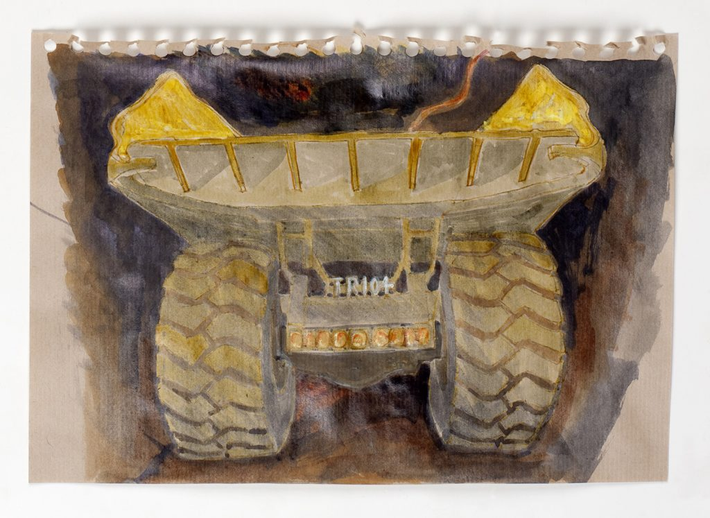 Truck in tunnel, Mt Lyell mine, 2008, pen and ink wash, 15 cm x 10 cm