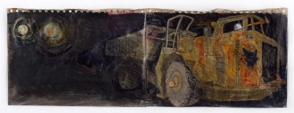 Truck in tunnel, Mt Lyell mine, pen and ink wash, 15 cm x 60 cm