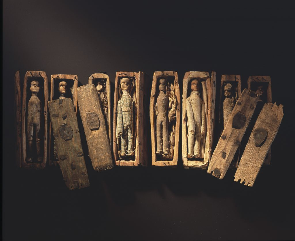You can find the Arthur's Seat coffins in the Industry & Empire gallery, in the National Museum of Scotland.