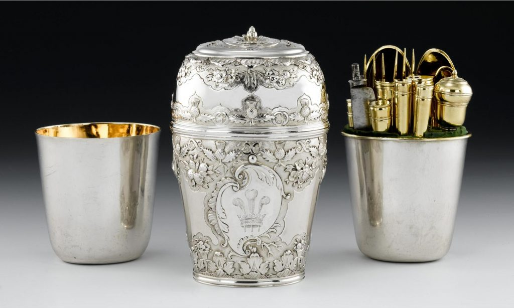 The silver travelling canteen