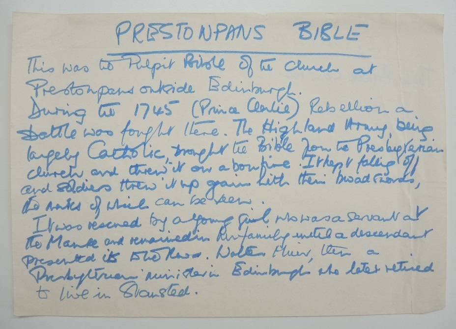 Handwritten note that accompanies the Bible explaining its purported history