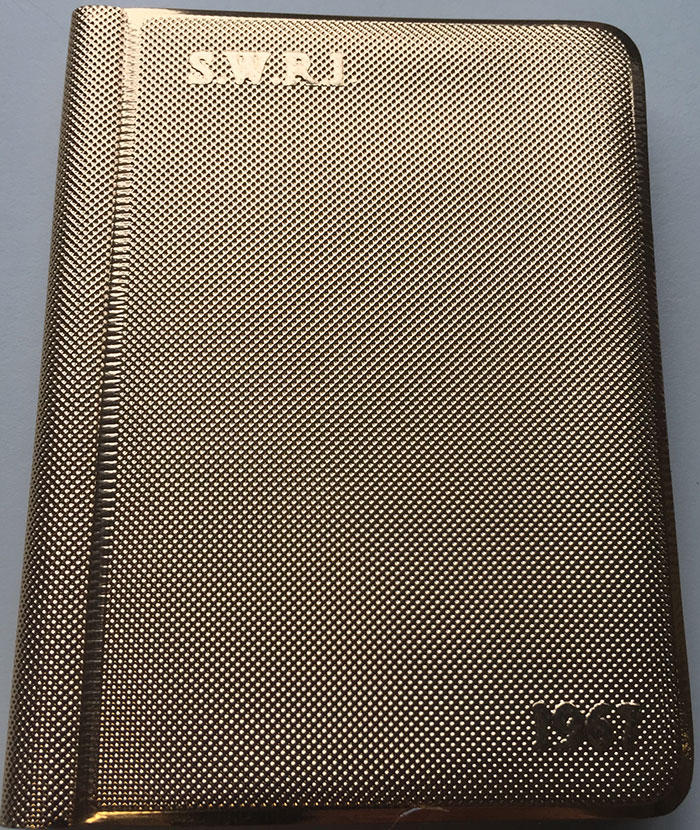 Gold coloured SWRI diary commemorating Golden Jubilee in 1967