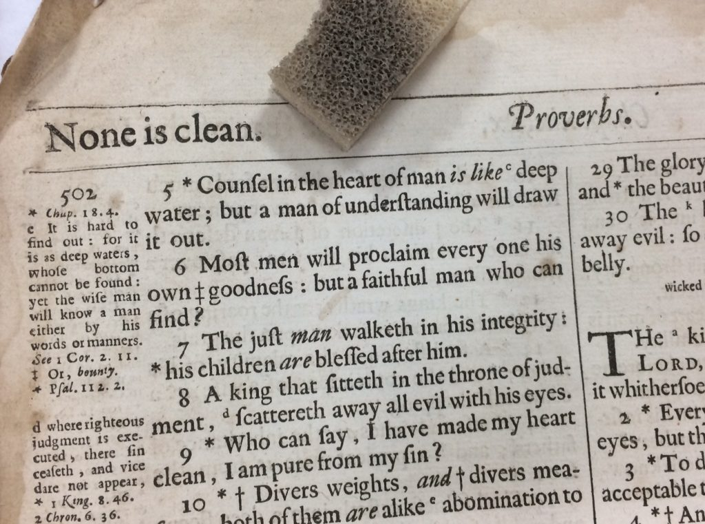 A page heading from Proverbs in the Prestonpans Bible (K.1999.415)