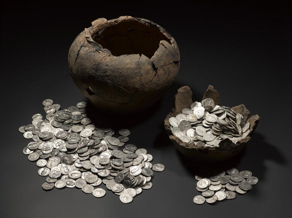 Roman coin hoard found at Birnie, Elgin, Moray.