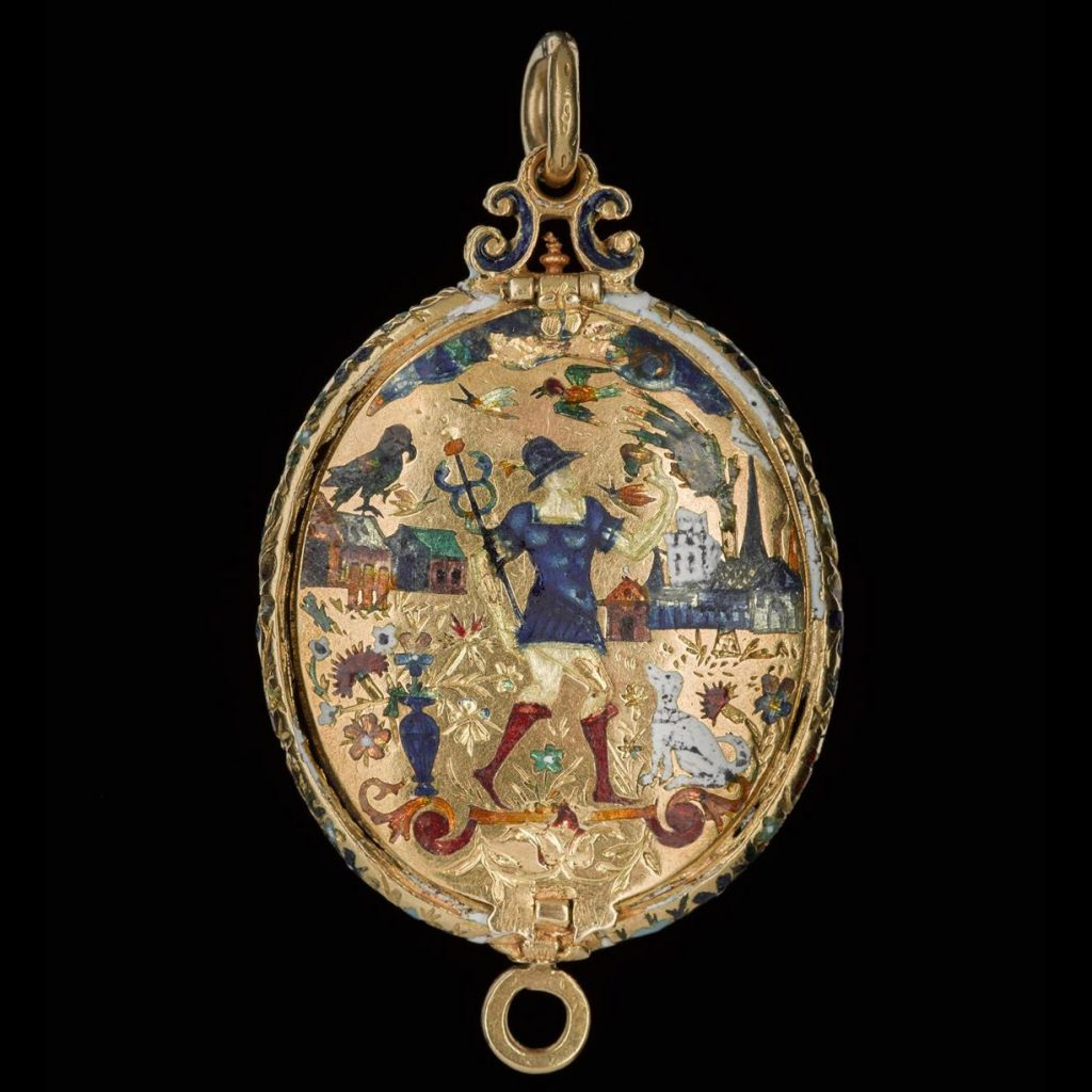 The reverse of the Fettercairn Jewel is decorated with detailed enameled imagery.
