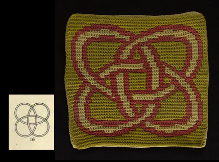 Knot number 16, from Plate IV illustrated above. Shown next to Triple layer knitting in three colours by Alexander Crum-Brown.