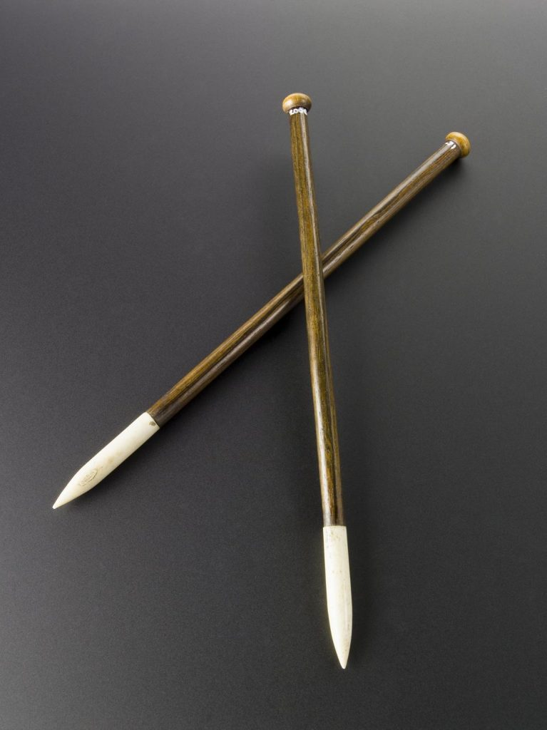 Knitting needles used by Alexander Crum Brown to produce mathematical models, c.1900. Science Museum Group Collection © The Board of Trustees of the Science Museum