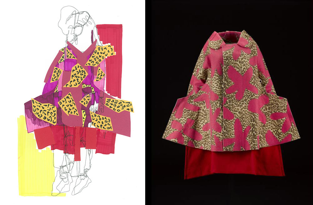 Emma Campbell responded to a coat and skirt from the Comme des Garcons 'Flat' or '2D' collection, Autumn Winter 2012 (K.2015.75). Emma used collage and mark making to convey the bold pattern of this ensemble.