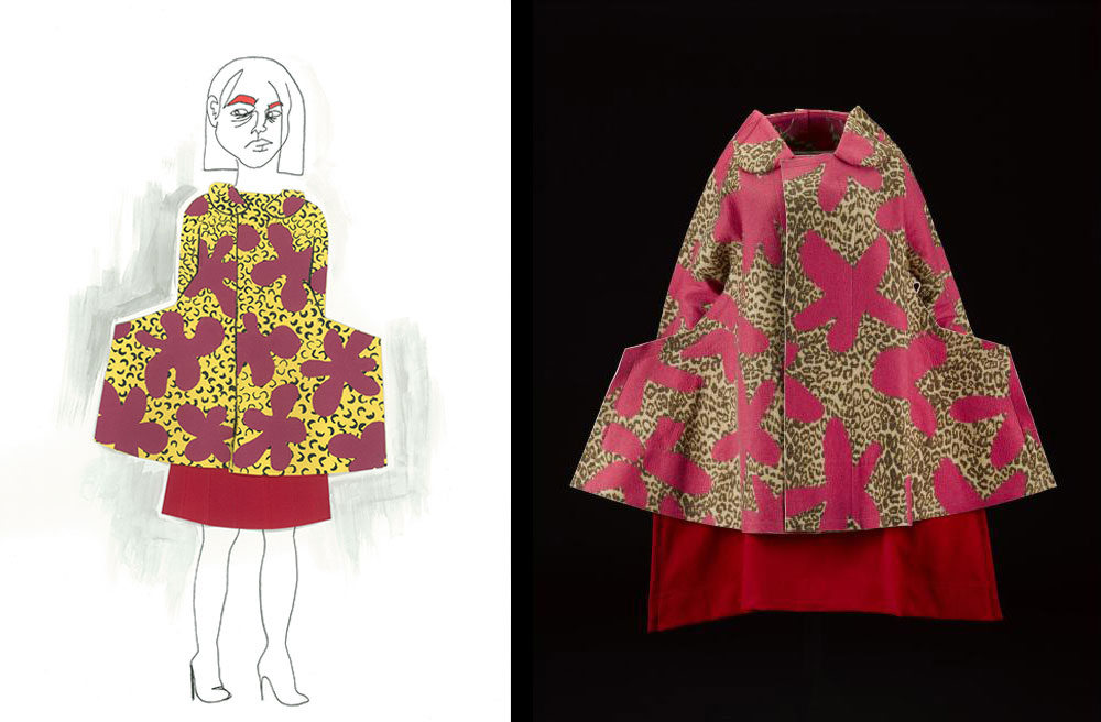 Heather Reid responded to a coat and skirt from the Comme des Garcons 'Flat' or '2D' collection, Autumn Winter 2012 (K.2015.75). Heather used collage and illustration to convey the pattern and personality of this ensemble.