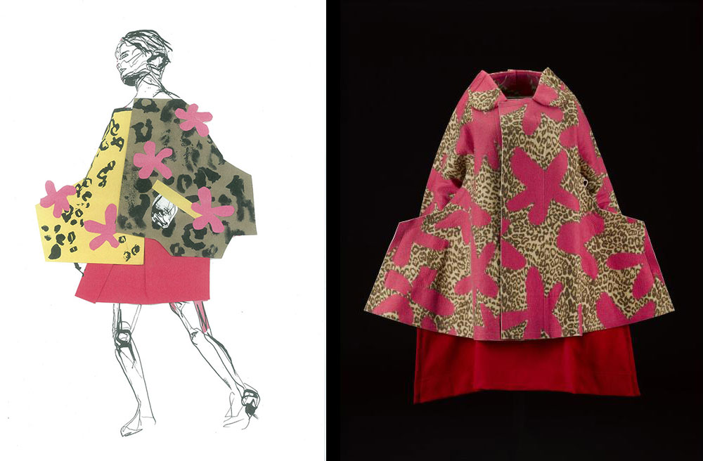 Katie Griffith Morgan responded to a coat and skirt from the Comme des Garcons 'Flat' or '2D' collection, Autumn Winter 2012 (K.2015.75). Katie used collage and illustration to convey the structure and movement of this ensemble.