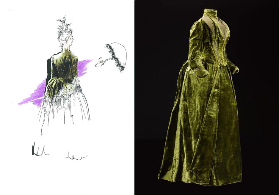 Ellie Butler responded to a green velvet bustle dress, c. 1885 – 1888 (K.2014.21) using a combination of drawing and digital imagery.
