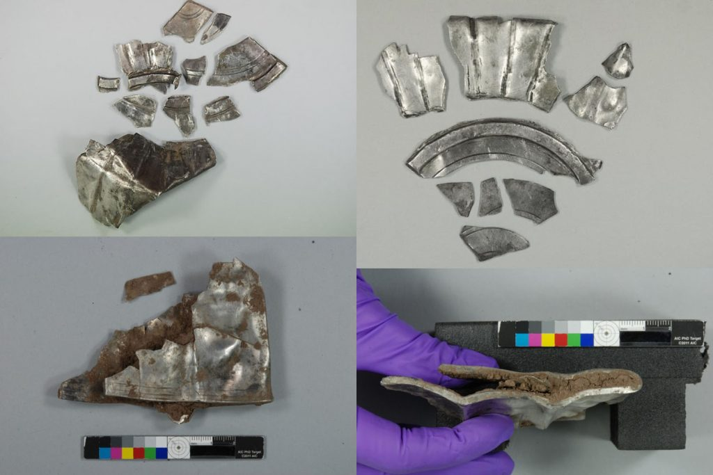 Some of the 137 fragments for the fluted basin.