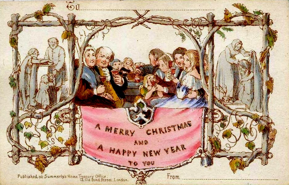 The world's first commercially produced Christmas card, designed by John Callcott Horsley for Henry Cole in 1843.Public Domain.