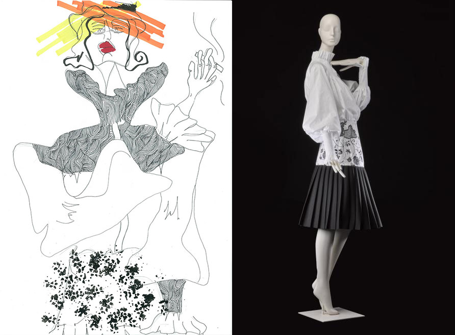 Rosie Lindsley chose an ensemble by Nabil Nayal, Spring/Summer 2016 (K.2016.85) and used illustration and mark making to depict the textures of this monochrome outfit.