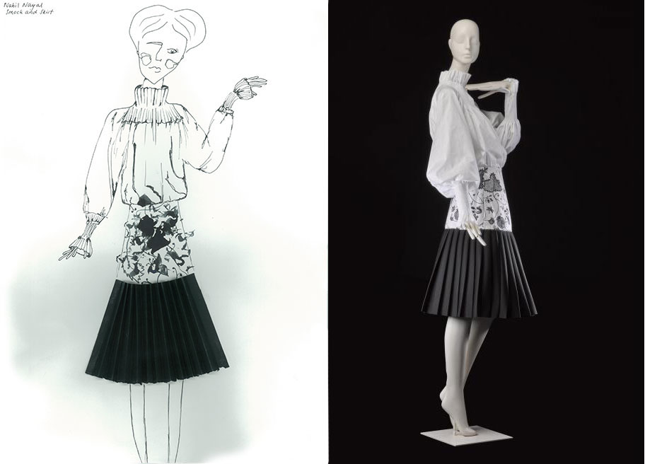 Sophie Walton chose an ensemble by Nabil Nayal, Spring/Summer 2016 (K.2016.85) and used mark making and collage to depict the pleated neoprene skirt.