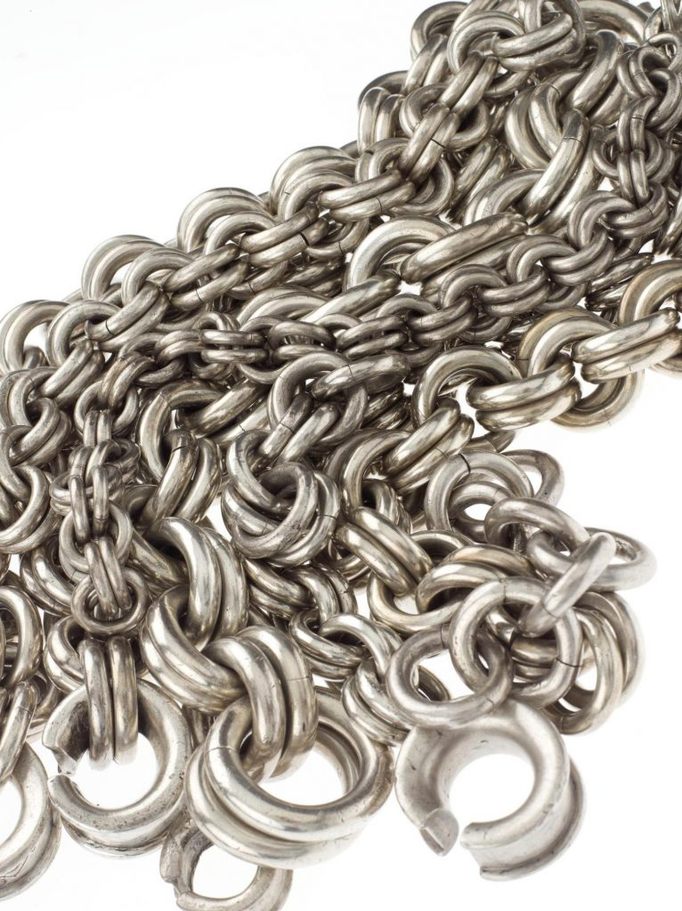 The nine massive silver chains on display in Scotland's Early Silver exhibition.