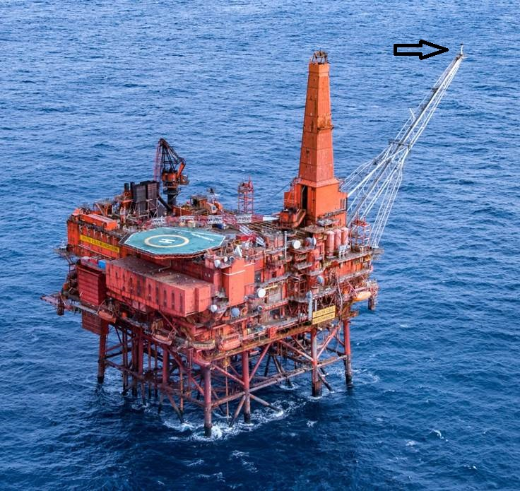 Murchison Platform before decommissioning, with Flare Tip in situ.