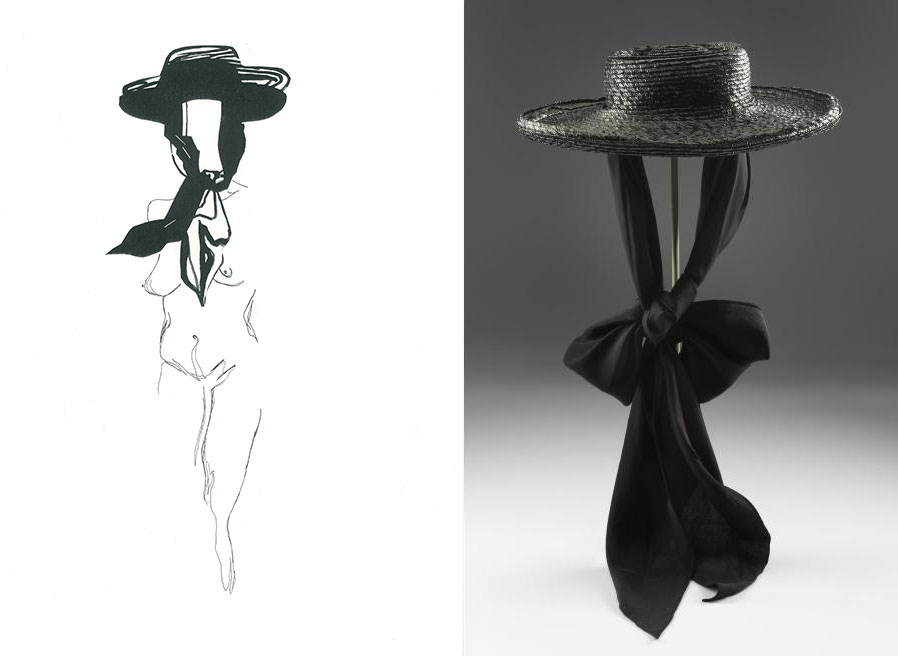 Raiesa Salum chose a hat designed by Elsa Schiaparelli, late 1930s (A.1994.1008). Raiesa referenced Schiaparelli's fascination with Surrealist art by depicting the hat on a stylised nude female figure.