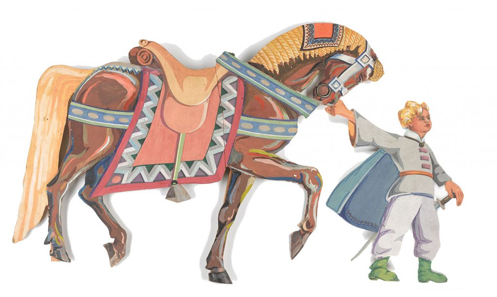 This child leading the horse dressed is in traditional costume.