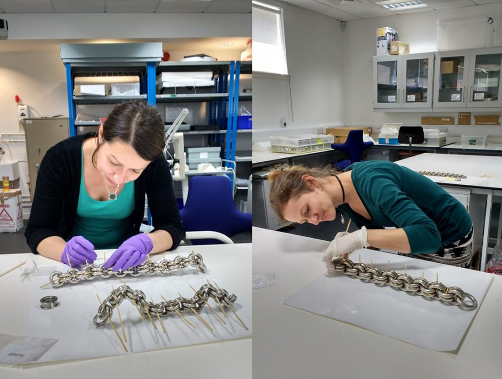 Stefka Bargazova and Lydia Messerschmidt working hard on the chain conservation production line.