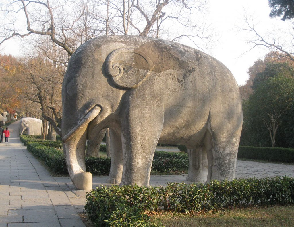 A stone elephant in the spirit road of Ming Xiaoling Mausoleum, Nanjing, Jiangsu province, China.