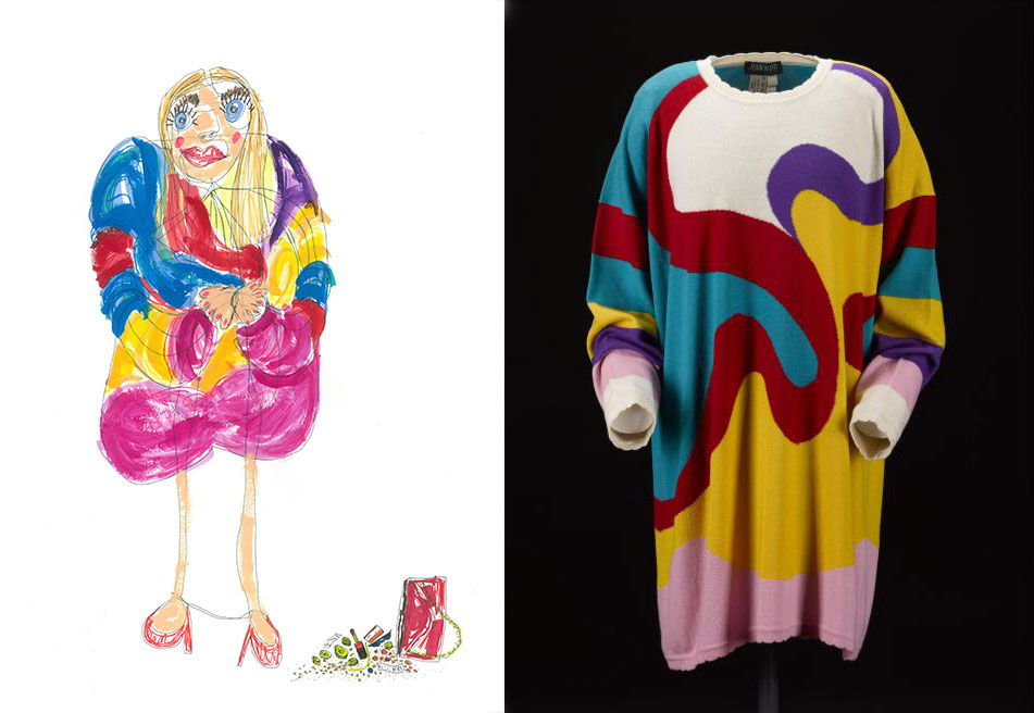 Sophie Mitchell chose an intarsia knitted sweater by Jean Muir, 1980s (K.2005.649.755). Muir referred to her knitwear as 'painting with cashmere' and Sophie used bold mark marking to convey the interplay of colour and personality of the garment.