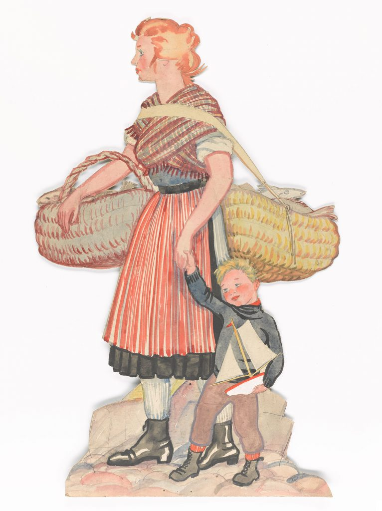Scottish Fisher lass and her child, carrying a creel of fish, wearing her striped skirts and wrapper shawl. The child is wearing and ganzie and carrying a toy boat, as was very popular with fisher children.