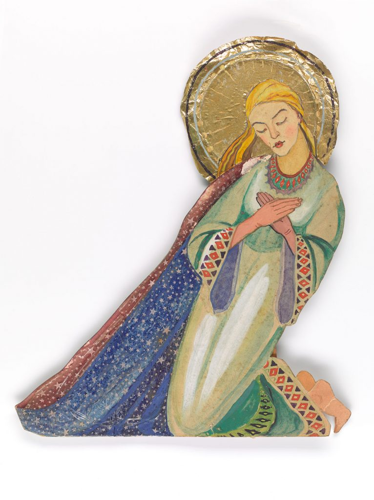 Mary praying clad in a cape of stars and a dress embroidered with polish folk costume patterns.