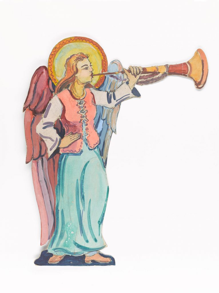 The Angel blows her trumpet heralding the coming of Jesus.