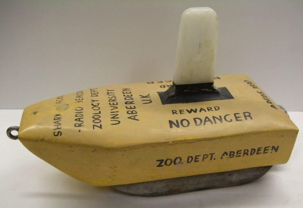 The world's first fish (basking shark) satellite tracking tag, Aberdeen University, 1981.