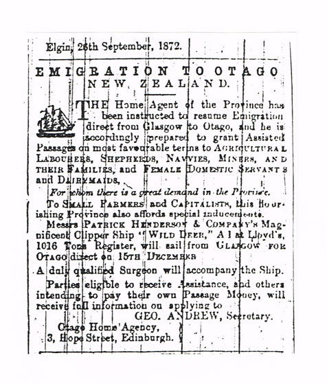 During his research into his great-grandmother's story, Ian Harris found this 1872 advertisement promoting emigration to New Zealand, seven years before Jessie Mackenzie and John Gallie set sail themselves.