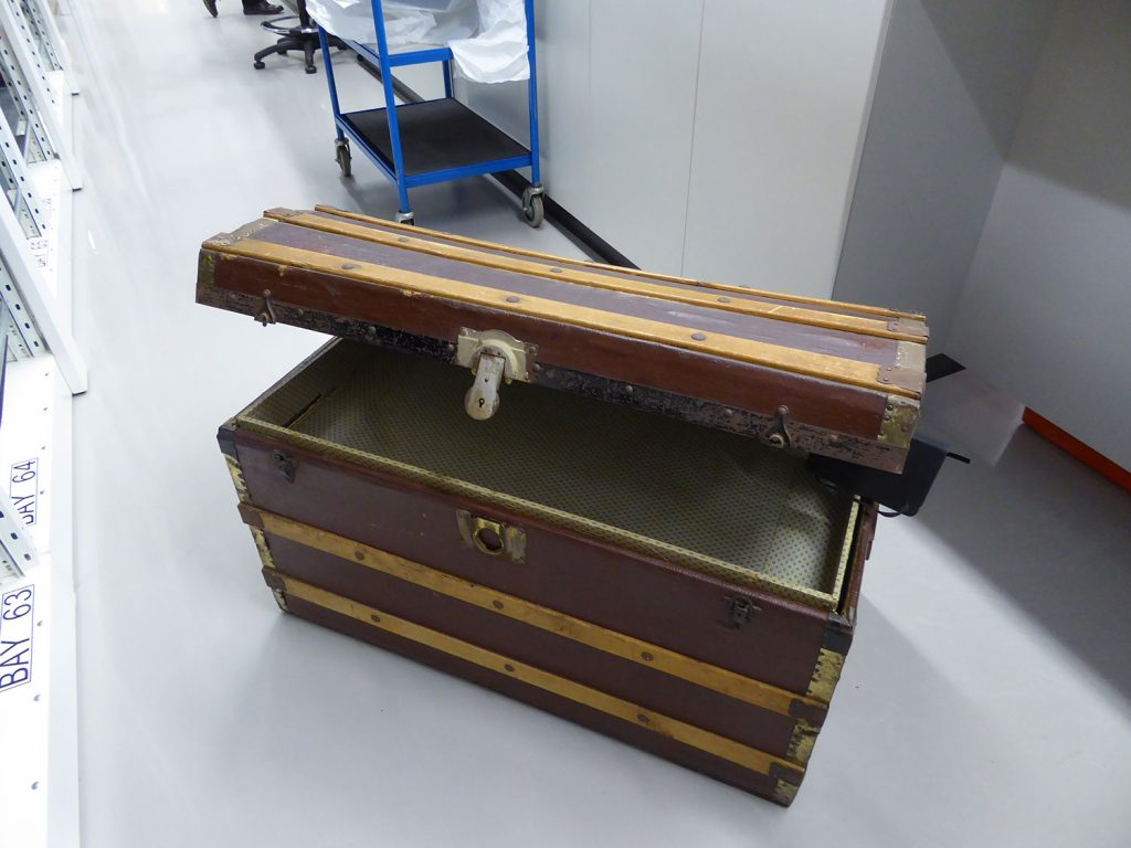 Jessie Mackenzie's trunk, photographed at the National Museums Collection Centre, 2018.