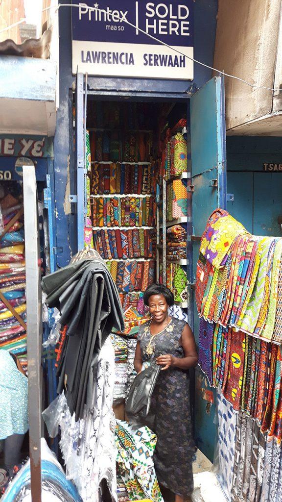 Kejetia Market textile stall Kumasi 2017