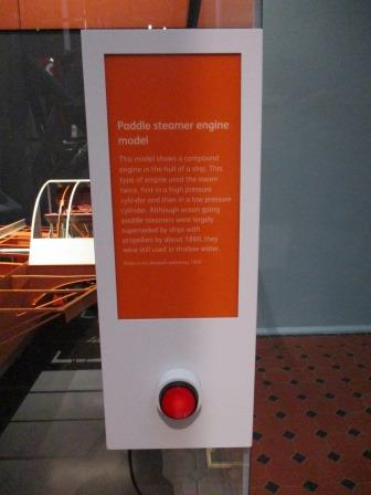 The red button controlling the paddle steamer.