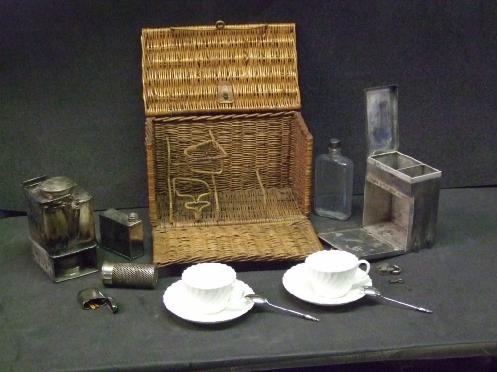 Tea set in a wicker case